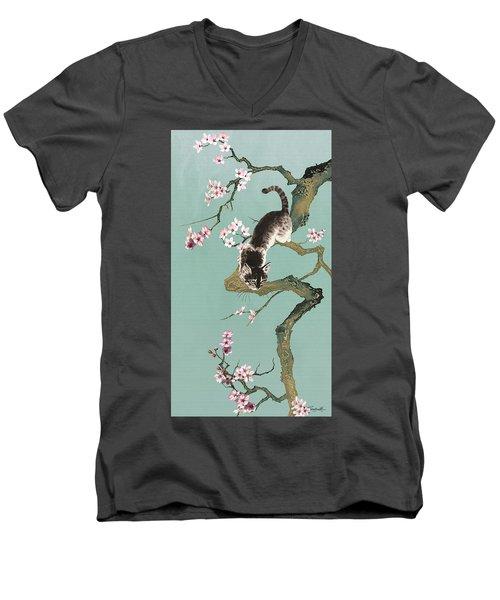 Fortune Cat In Cherry Tree Men's V-Neck T-Shirt