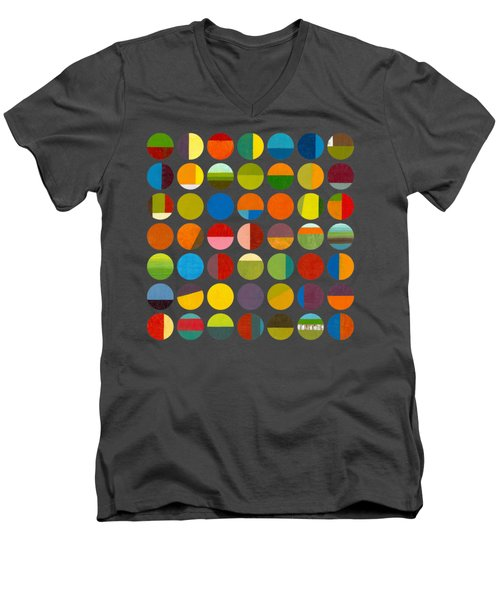Men's V-Neck T-Shirt featuring the painting Forty Nine Circles by Michelle Calkins