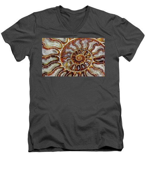 Fossilized Ammonite Spiral Men's V-Neck T-Shirt