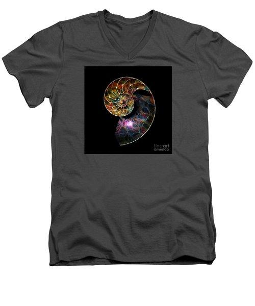 Men's V-Neck T-Shirt featuring the digital art Fossilized Nautilus Shell by Klara Acel