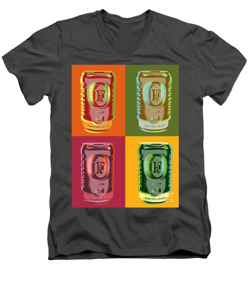 Men's V-Neck T-Shirt featuring the digital art Foster's Lager Pop Art by Jean luc Comperat