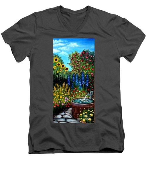 Fountain Of Flowers Men's V-Neck T-Shirt