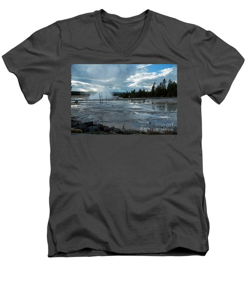 Fountain Paint Pot Area Men's V-Neck T-Shirt by Cindy Murphy - NightVisions
