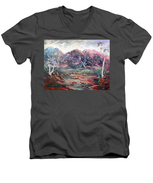 Men's V-Neck T-Shirt featuring the painting Fountain Springs Outback Australia by Ryn Shell