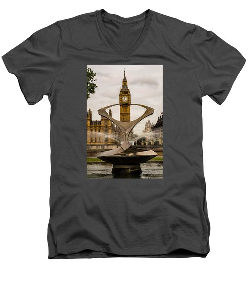 Fountain With Big Ben Men's V-Neck T-Shirt