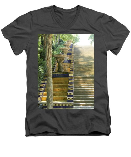 Fountains At Montjuic Men's V-Neck T-Shirt