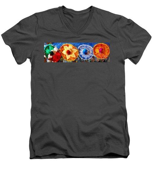 Four Amigos In Cozumel Men's V-Neck T-Shirt