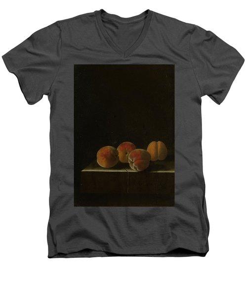 Four Apricots On A Stone Plinth Men's V-Neck T-Shirt