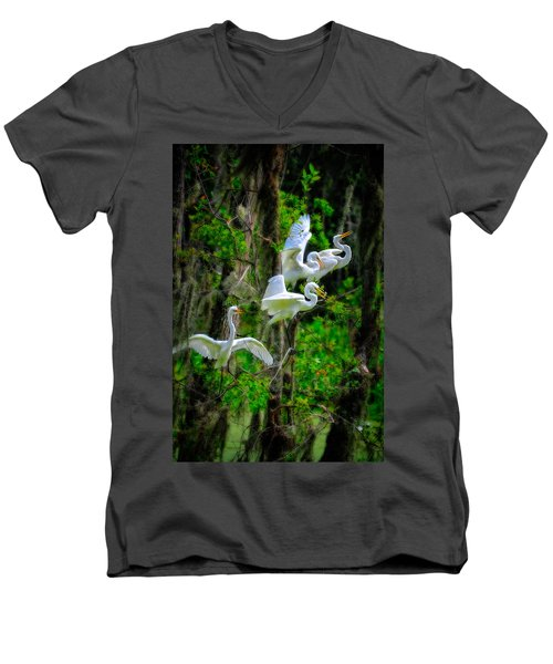 Four Egrets Men's V-Neck T-Shirt