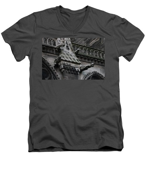 Men's V-Neck T-Shirt featuring the photograph Four Gargoyles On Notre Dame North by Christopher Kirby