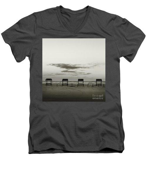 Four On The Beach Men's V-Neck T-Shirt by Sebastian Mathews Szewczyk