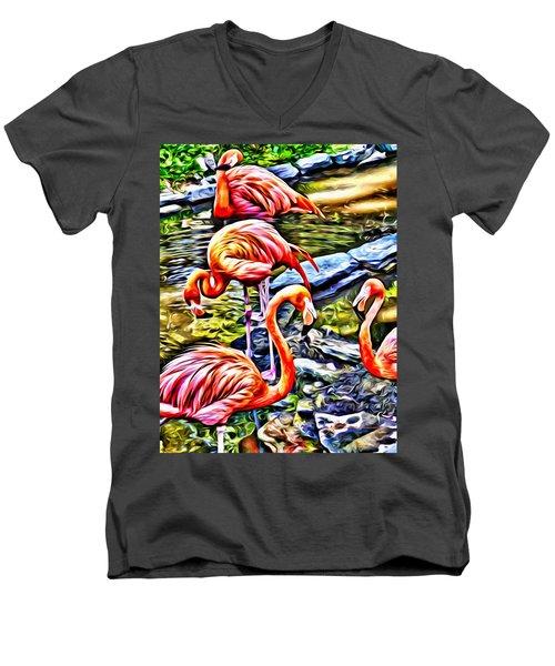 Four Pink Flamingos Men's V-Neck T-Shirt