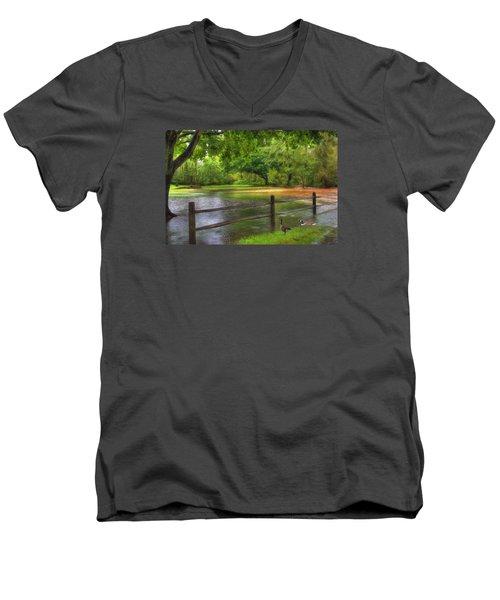 Fourth Street Flood Men's V-Neck T-Shirt by Sharon Batdorf