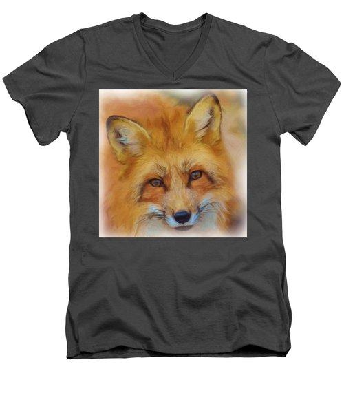 Fox Face Taken From Watercolour Painting Men's V-Neck T-Shirt