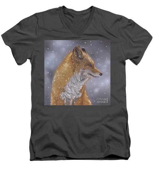 Fox In A Flurry Men's V-Neck T-Shirt