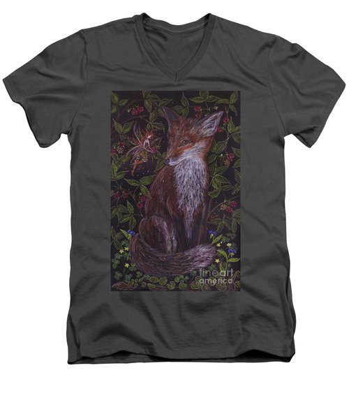 Men's V-Neck T-Shirt featuring the drawing Fox In The Berry Bushes by Dawn Fairies