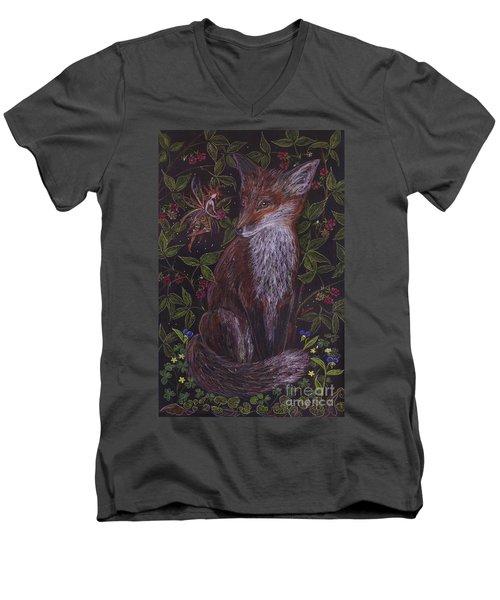 Fox In The Berry Bushes Men's V-Neck T-Shirt