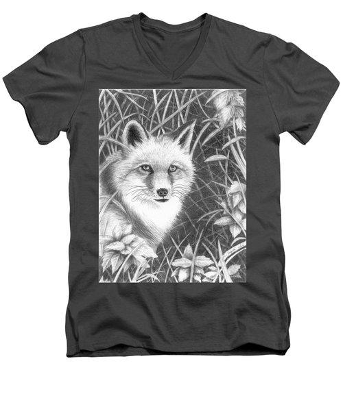 Fox Men's V-Neck T-Shirt by Lawrence Tripoli