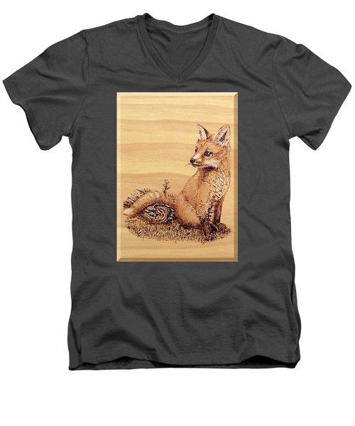 Fox Pup Men's V-Neck T-Shirt by Ron Haist