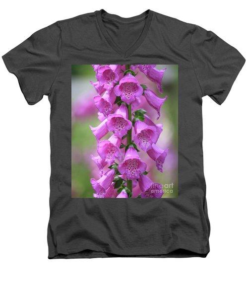 Men's V-Neck T-Shirt featuring the photograph Foxglove Flowers by Edward Fielding