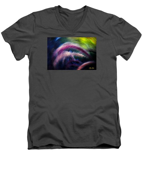 Men's V-Neck T-Shirt featuring the photograph Foxtails In Shadows by Rikk Flohr