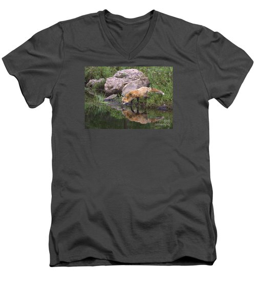 Men's V-Neck T-Shirt featuring the photograph Foxy Reflection by Myrna Bradshaw