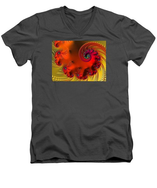 Fractal Art - Breath Of The Dragon Men's V-Neck T-Shirt by HH Photography of Florida