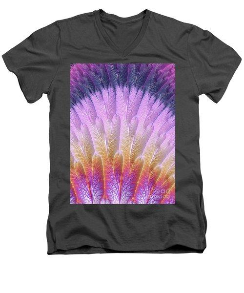 Fractal Feather Fan Men's V-Neck T-Shirt