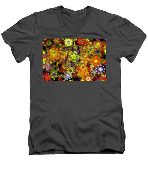 Fractal Floral Study 10-27-09 Men's V-Neck T-Shirt by David Lane