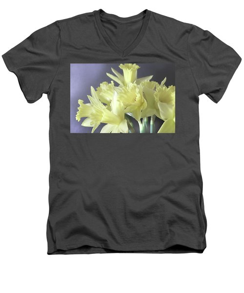 Fragile Daffodils Men's V-Neck T-Shirt by Jacqi Elmslie