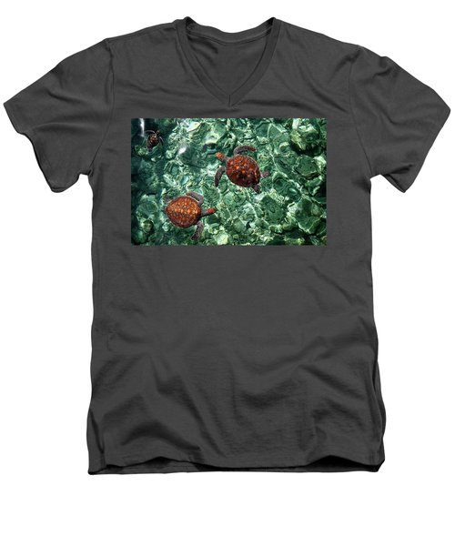 Fragile Underwater World. Sea Turtles In A Crystal Water. Maldives Men's V-Neck T-Shirt