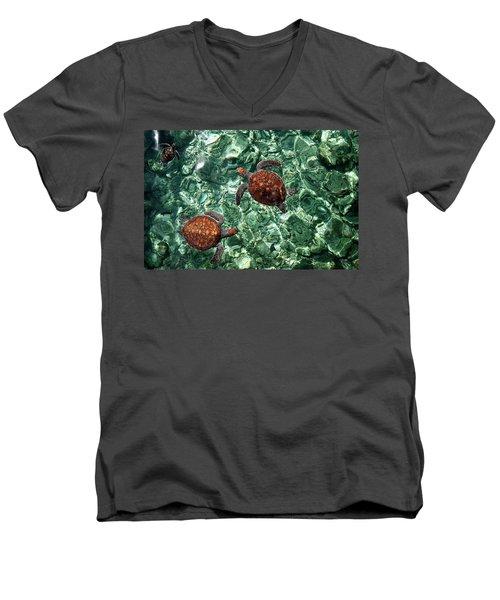 Fragile Underwater World. Sea Turtles In A Crystal Water. Maldives Men's V-Neck T-Shirt