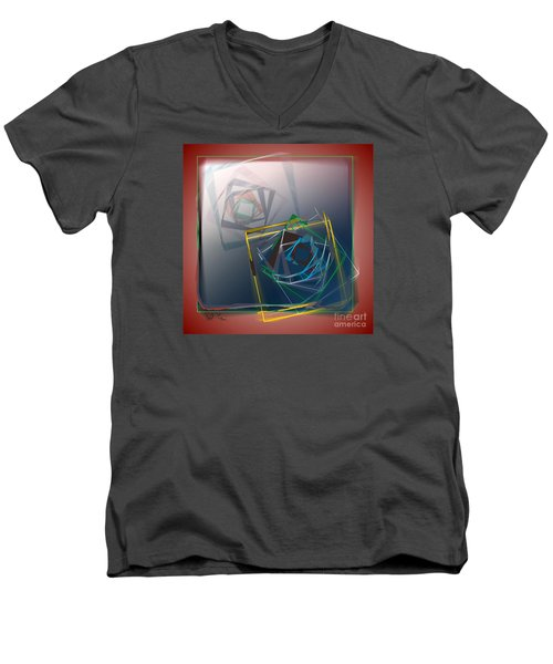Men's V-Neck T-Shirt featuring the digital art Fragments Of Movement by Leo Symon