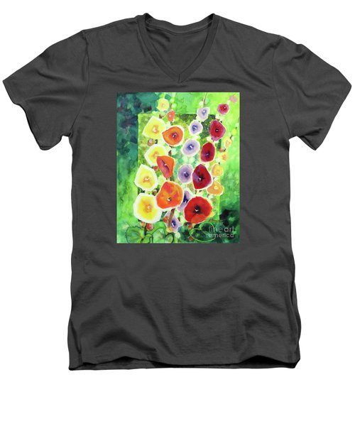 Men's V-Neck T-Shirt featuring the painting Framed In Hollyhocks by Kathy Braud