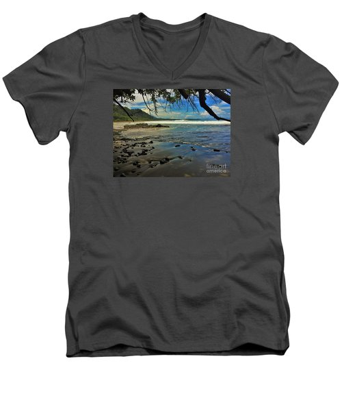 Men's V-Neck T-Shirt featuring the photograph Framing The Tide by Pamela Blizzard