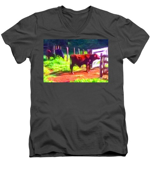 Franca Cattle 2 Men's V-Neck T-Shirt