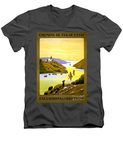 France Bretagne Vintage Travel Poster Restored Men's V-Neck T-Shirt
