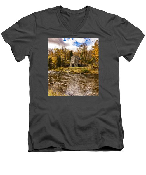Men's V-Neck T-Shirt featuring the photograph Franconia Fall by Anthony Baatz
