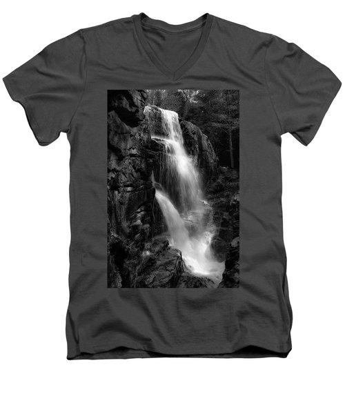 Men's V-Neck T-Shirt featuring the photograph Franconia Notch Waterfall by Jason Moynihan