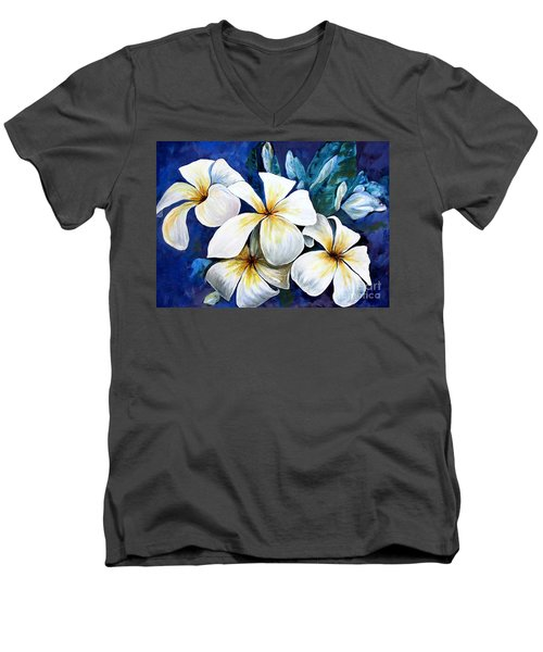 Men's V-Neck T-Shirt featuring the painting Frangipani by Ryn Shell