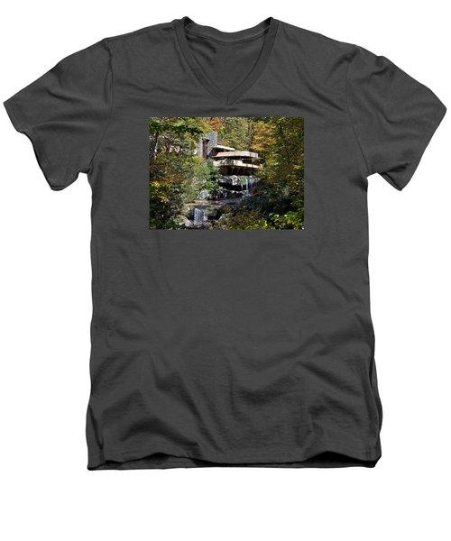 Frank Lloyd Wrights Fallingwater Men's V-Neck T-Shirt by Brendan Reals