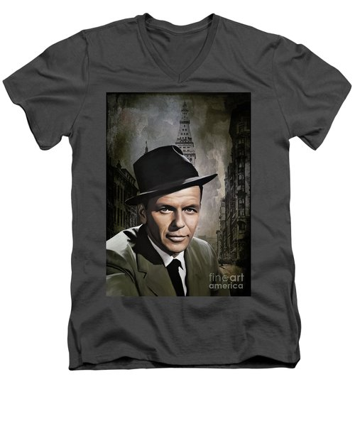Men's V-Neck T-Shirt featuring the painting  Frank Sinatra by Andrzej Szczerski