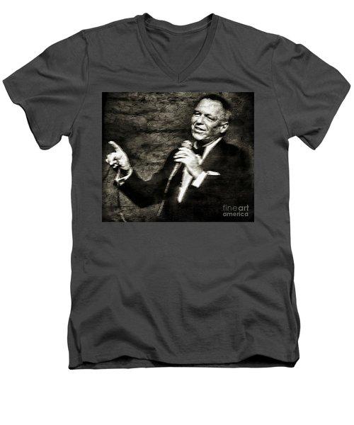 Frank Sinatra -  Men's V-Neck T-Shirt by Ian Gledhill