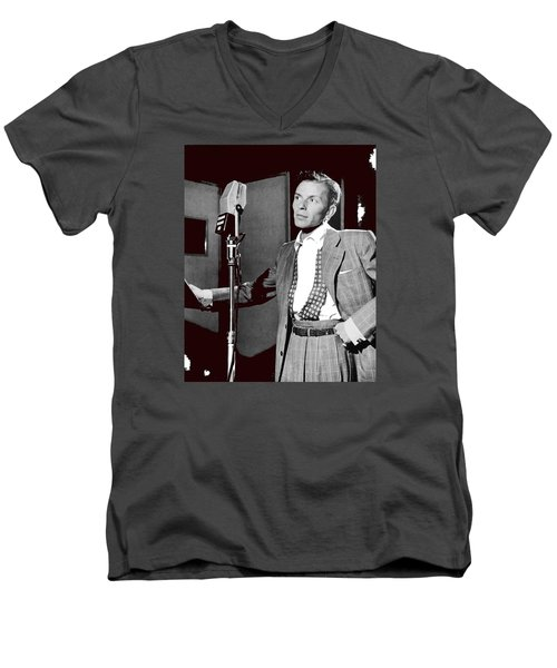 Frank Sinatra William Gottlieb Photo Liederkranz Hall New York City 1947-2015 Men's V-Neck T-Shirt by David Lee Guss
