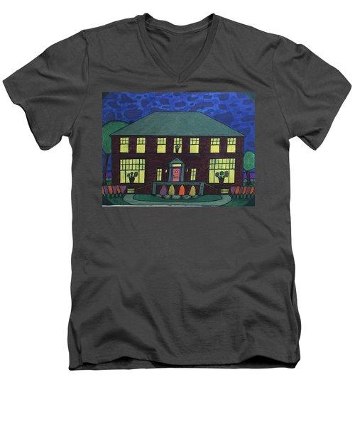 Frank Spies Home. Historical Menominee Art. Men's V-Neck T-Shirt by Jonathon Hansen