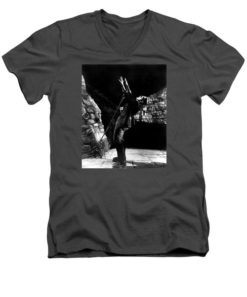 Frankensteins Monster Chained The Castle Played By Boris Karloff Men's V-Neck T-Shirt