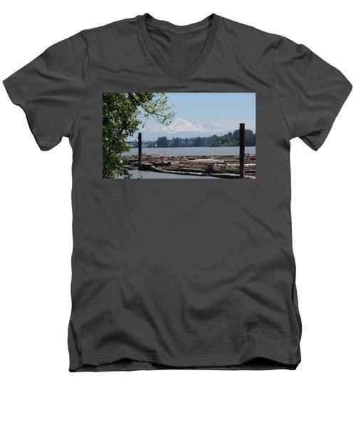 Fraser River And Mount Baker Men's V-Neck T-Shirt