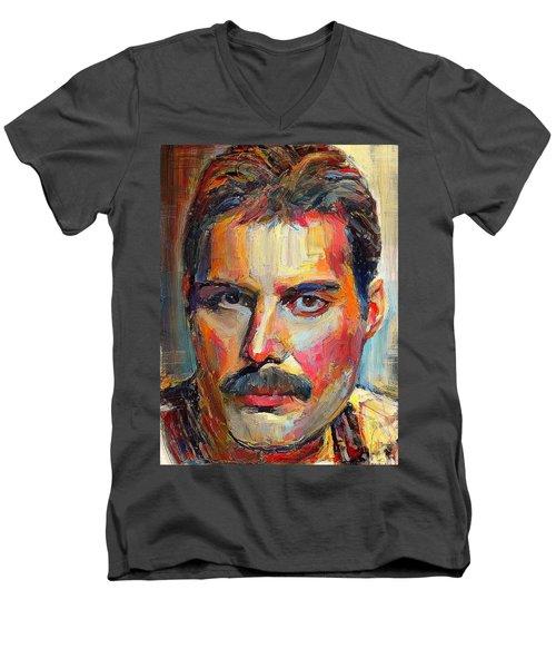 Freddie Mercury Colorful Portrait Men's V-Neck T-Shirt