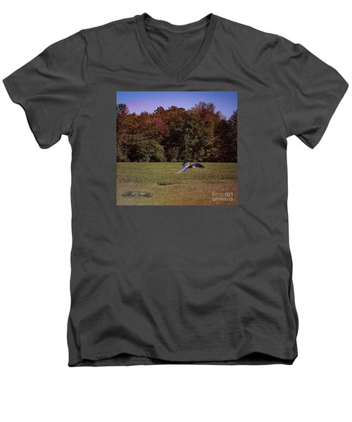 Free Flighted Macaw Men's V-Neck T-Shirt by Melissa Messick