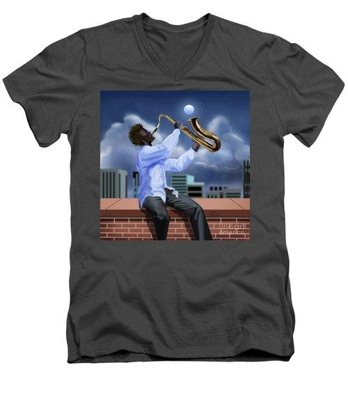 Free Jazz Moon Men's V-Neck T-Shirt